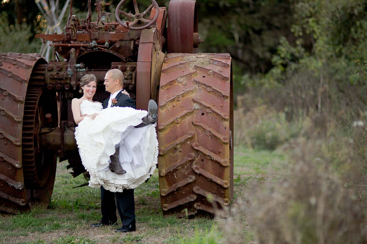 Lauren and Anthony's barn wedding in Half Moon Bay - tractor photo