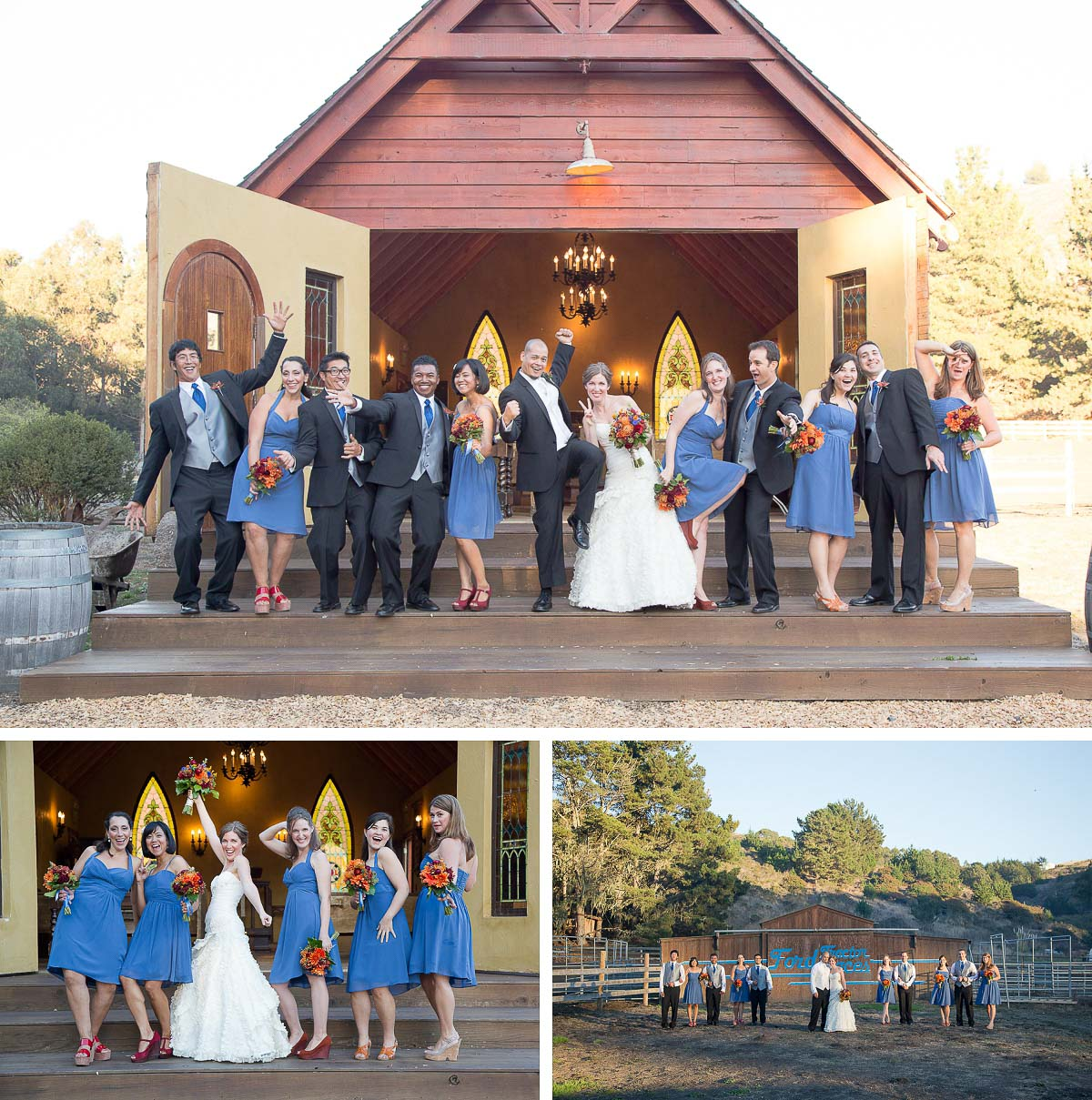 Lauren and Anthony's barn wedding in Half Moon Bay - wedding party in front of barn after ceremony