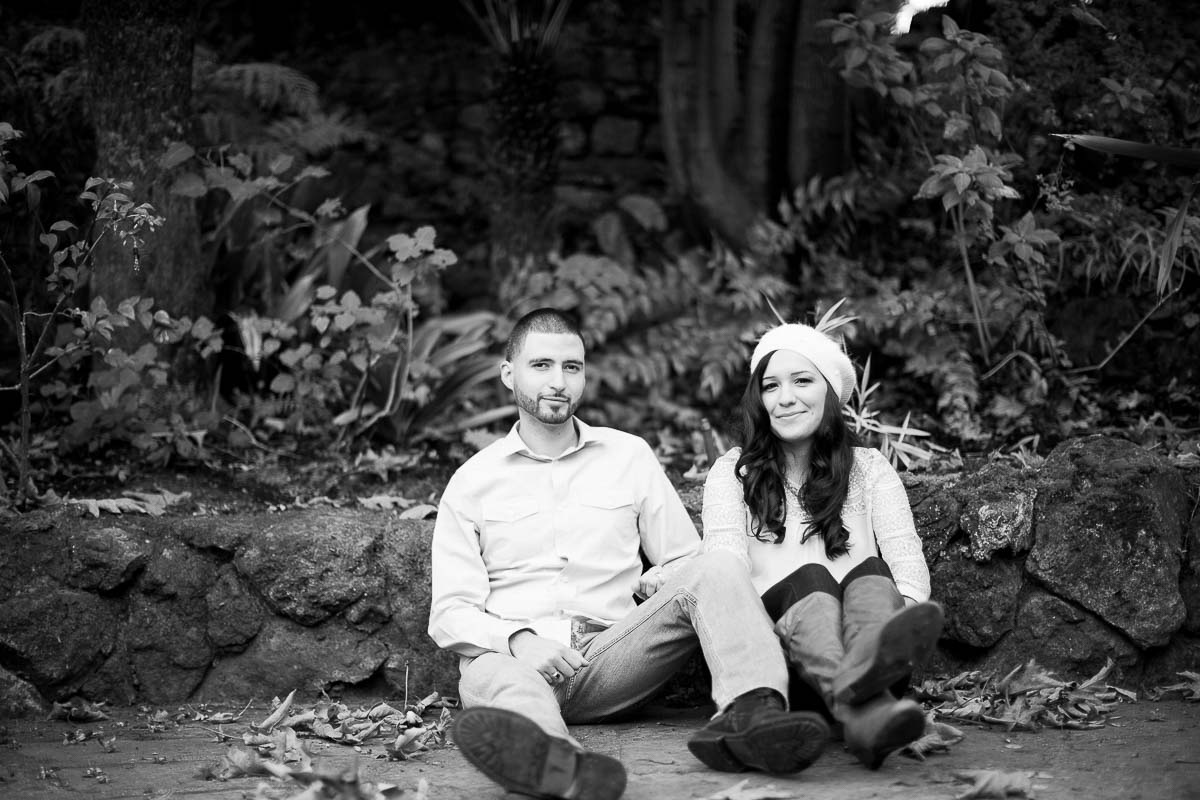 Oakland engagement photos at Lake Temescal with Marisela and Miguel - black and white