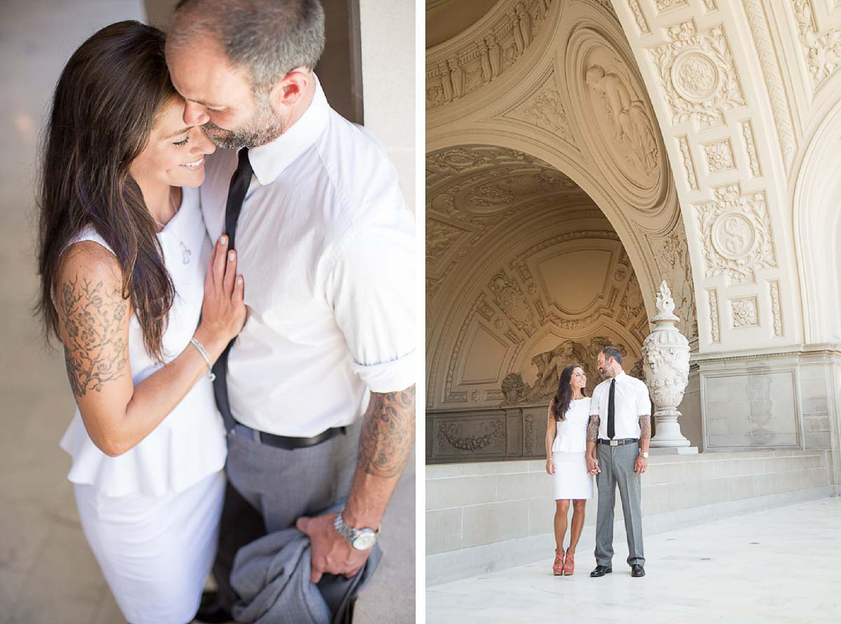 Erica and Wilson showing their tattoos - San Francisco City Hall wedding photos