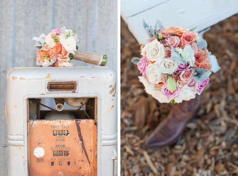 Detail shot with bouquet and boot at Walnut Creek wedding