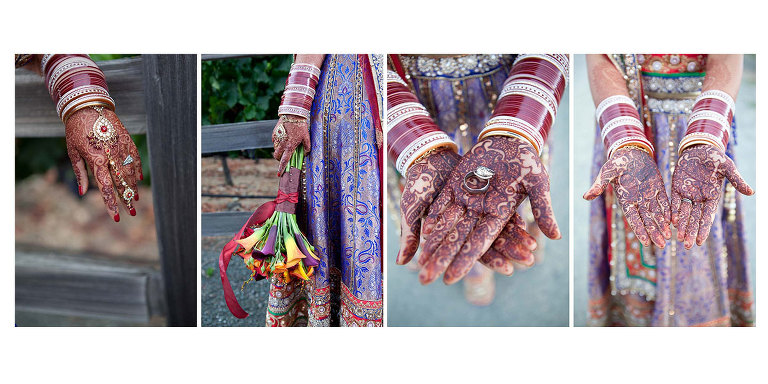 Traditional mehndi (henna) on bride's hands - photo by Red Eye Collection