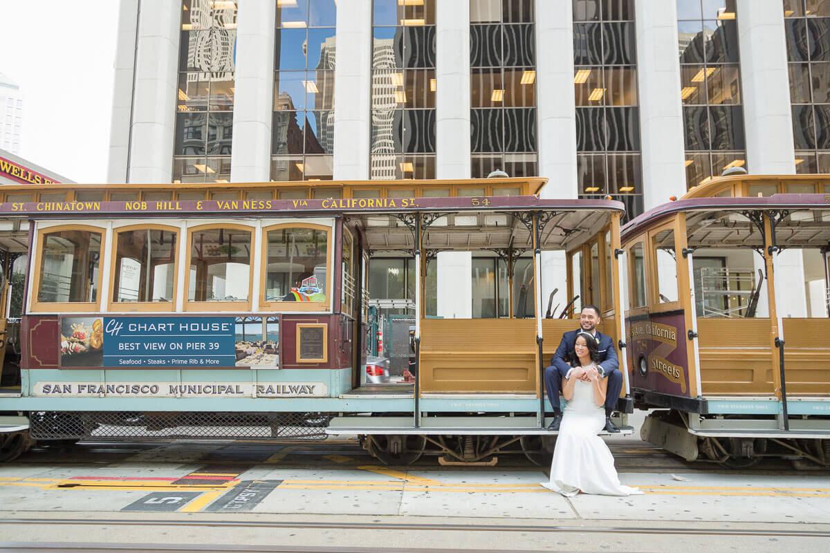 Felicia and Martin San Francisco City Hall wedding photo - Cable Cars