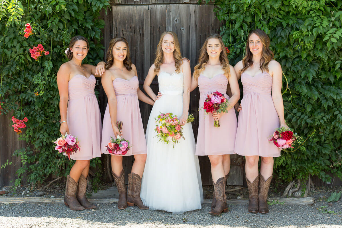 Ashley's bridal party from her Healdsburg, CA wedding