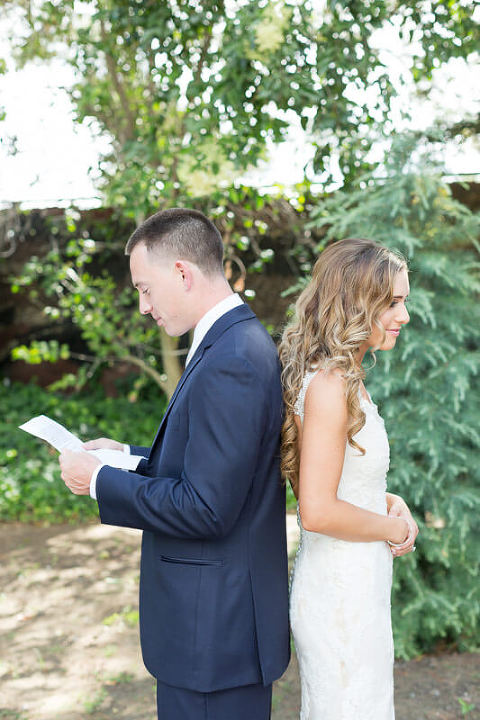 Allyssa and Scott Oakley wedding photos - vows with first look
