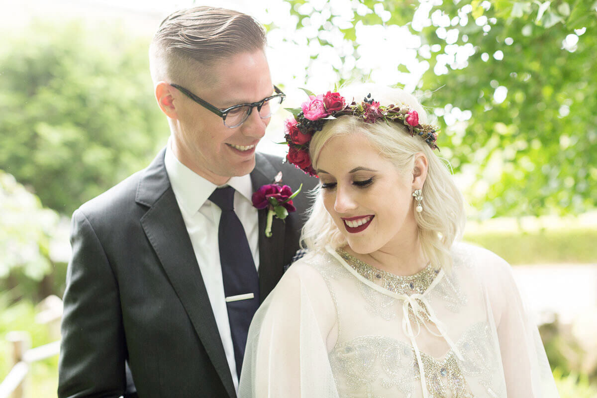 Kelly and Ryan in San Francisco garden after city hall wedding