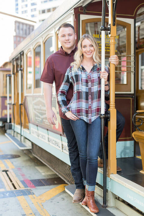 San Francisco cable cars engagement photo - Brittani and Todd 1