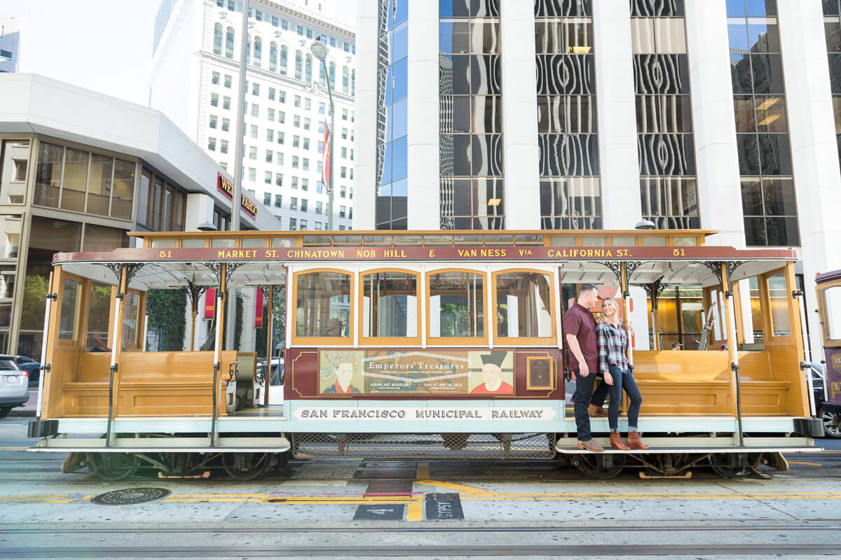 San Francisco cable cars engagement photo - Brittani and Todd 2