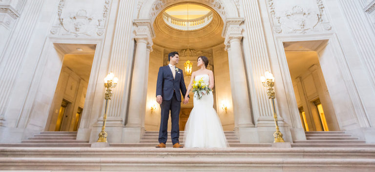 San Francisco City Hall wedding photo on Grand Staircase - Red Eye Collection - wedding photographer