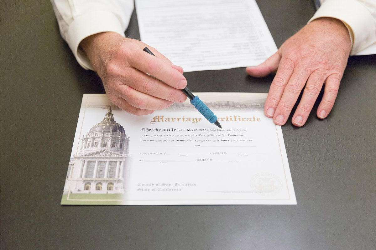 Marriage license at San Francisco City Hall