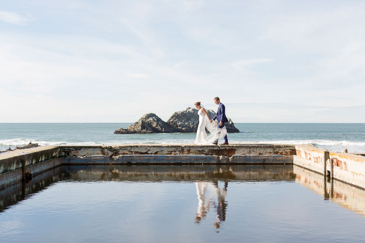 Sutro Baths wedding photo in San Francisco by Red Eye Collection
