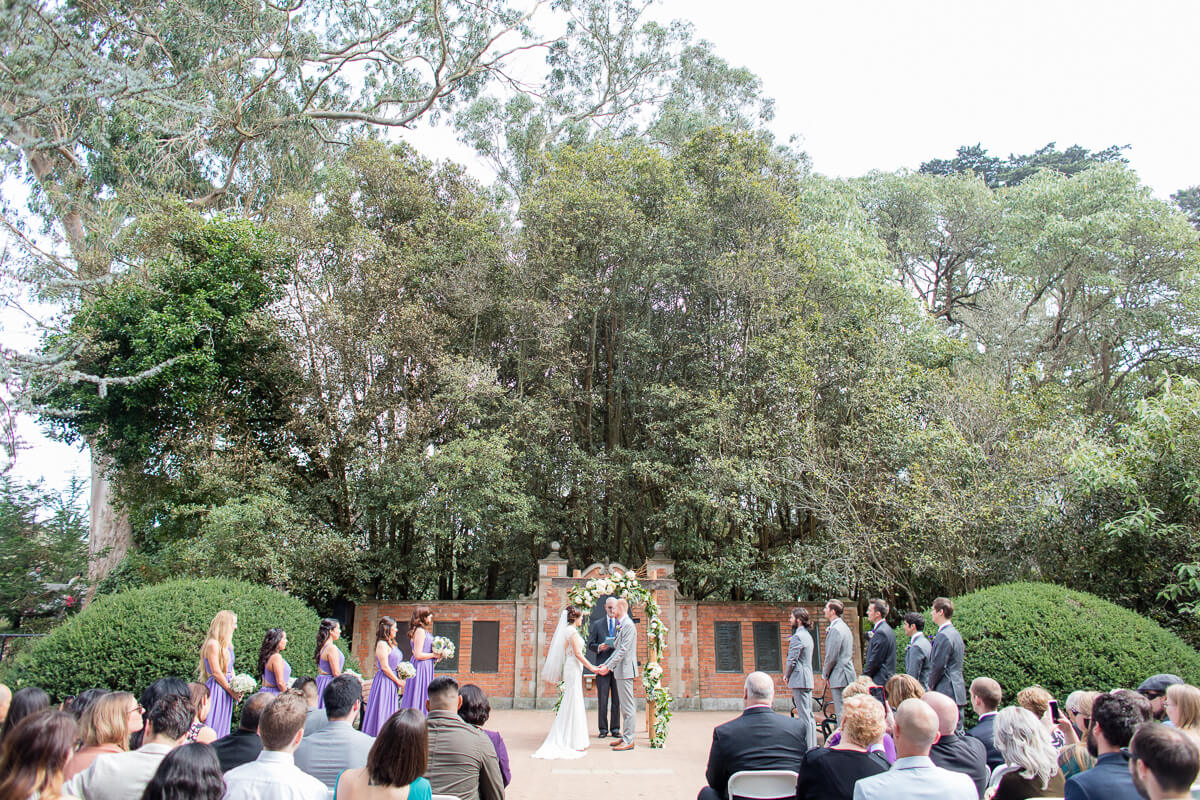 Wedding ceremony at Shakespeare Garden in Golden Gate Park - photo by Red Eye Collection