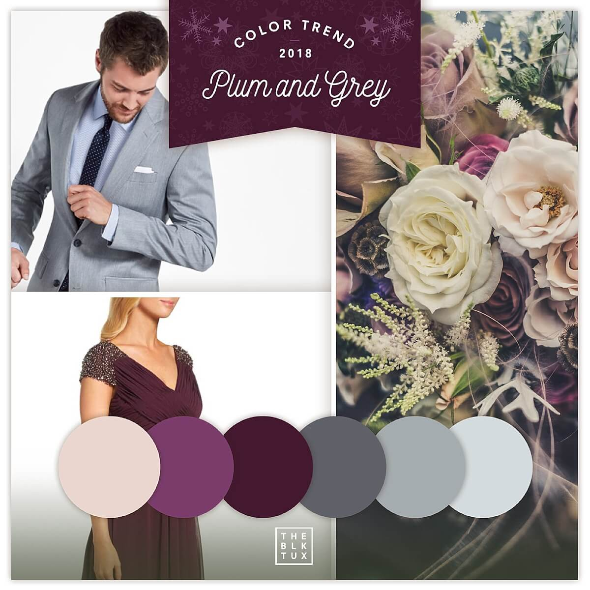 Winter wedding color palette - plum and grey