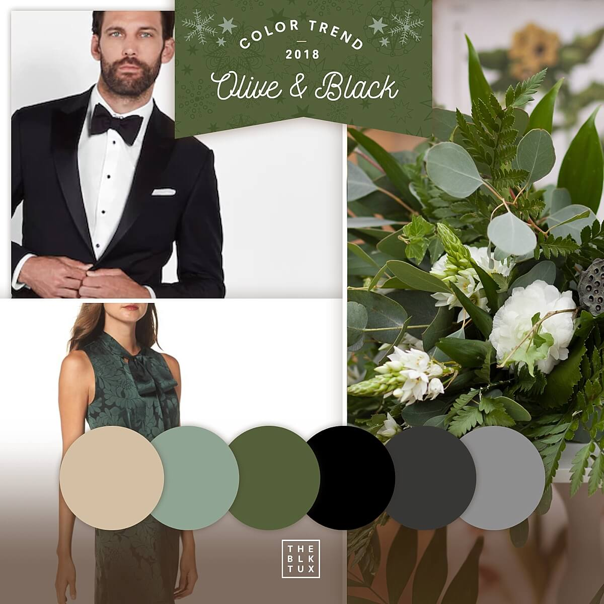 Winter wedding color palette - olive and black