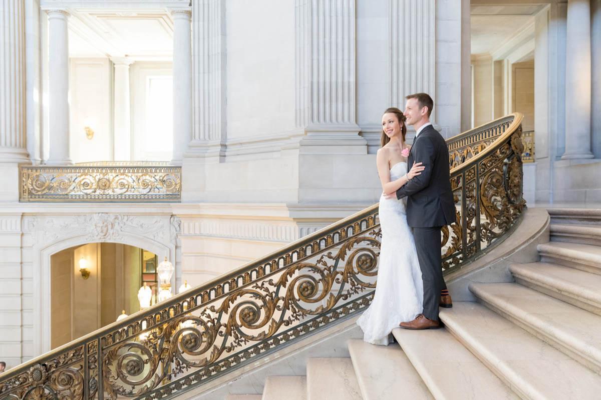 Tasha and Seth's San Francisco elopement - City Hall grand staircase