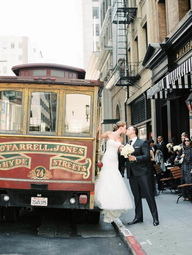 Cable Car in front of Wayfare Tavern for San Francisco City Hall wedding reception