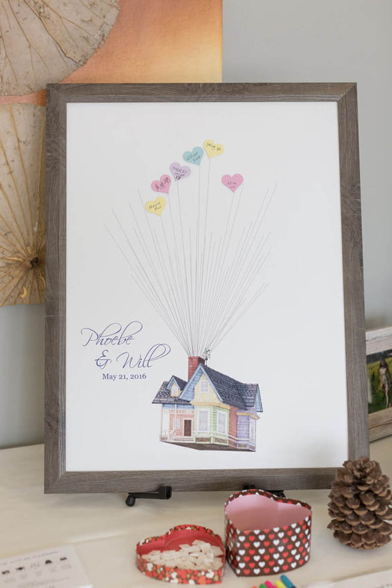 "Phoebe and Will ""Up"" wedding art with heart balloons guest book"