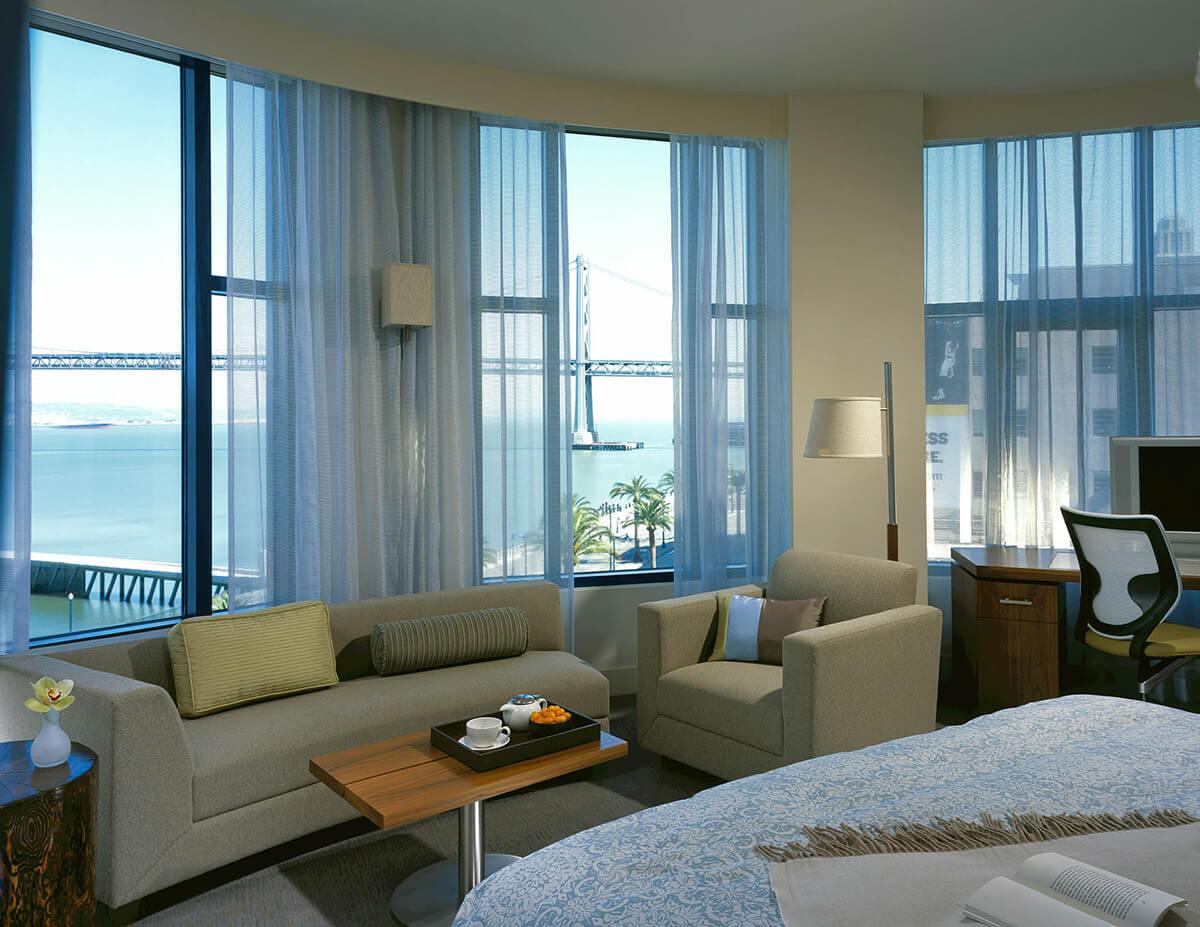 Hotel Vitale luxury circular suite San Francisco hotel room