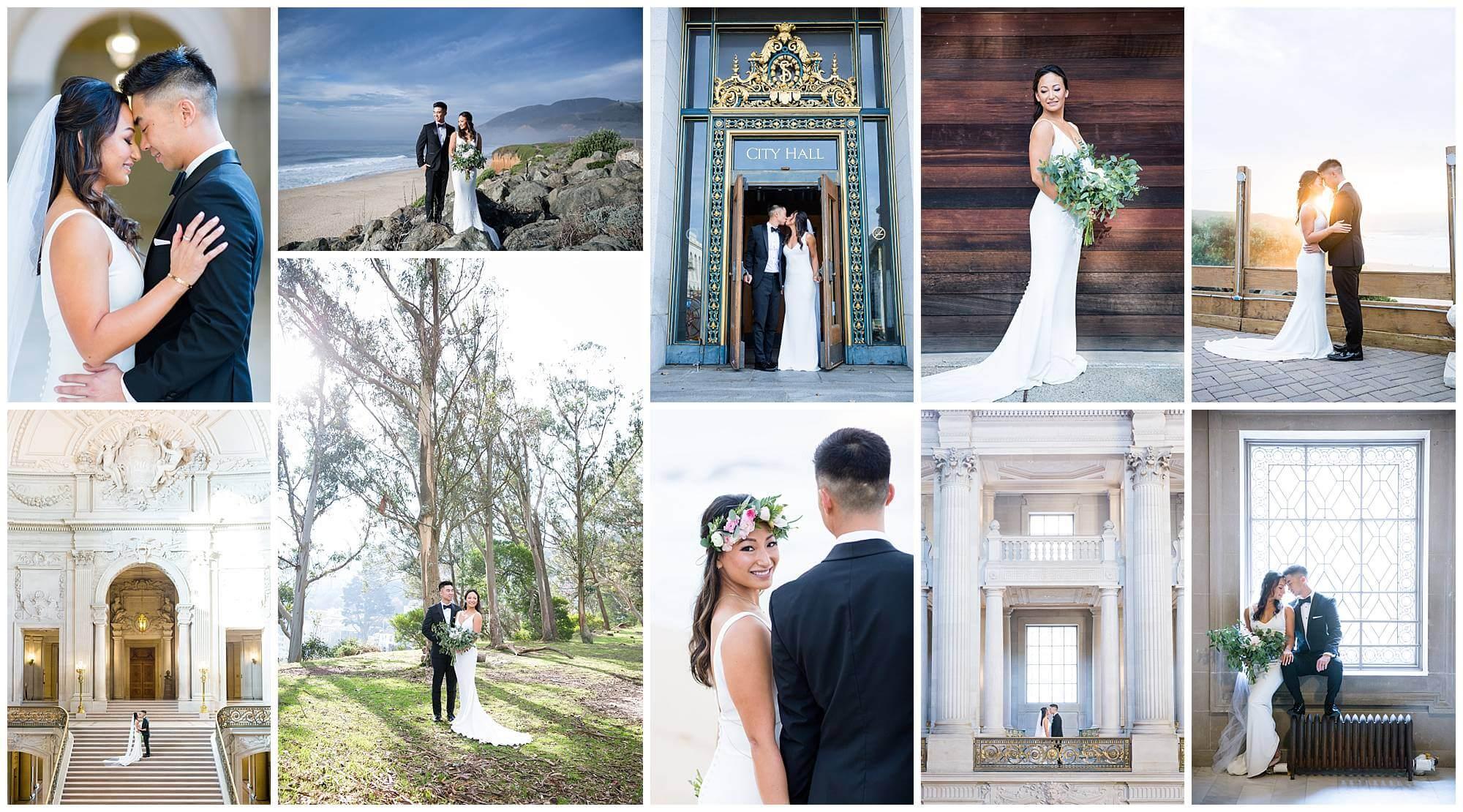 Photo collage of Maya and Kevin's November wedding in SF and Half Moon Bay