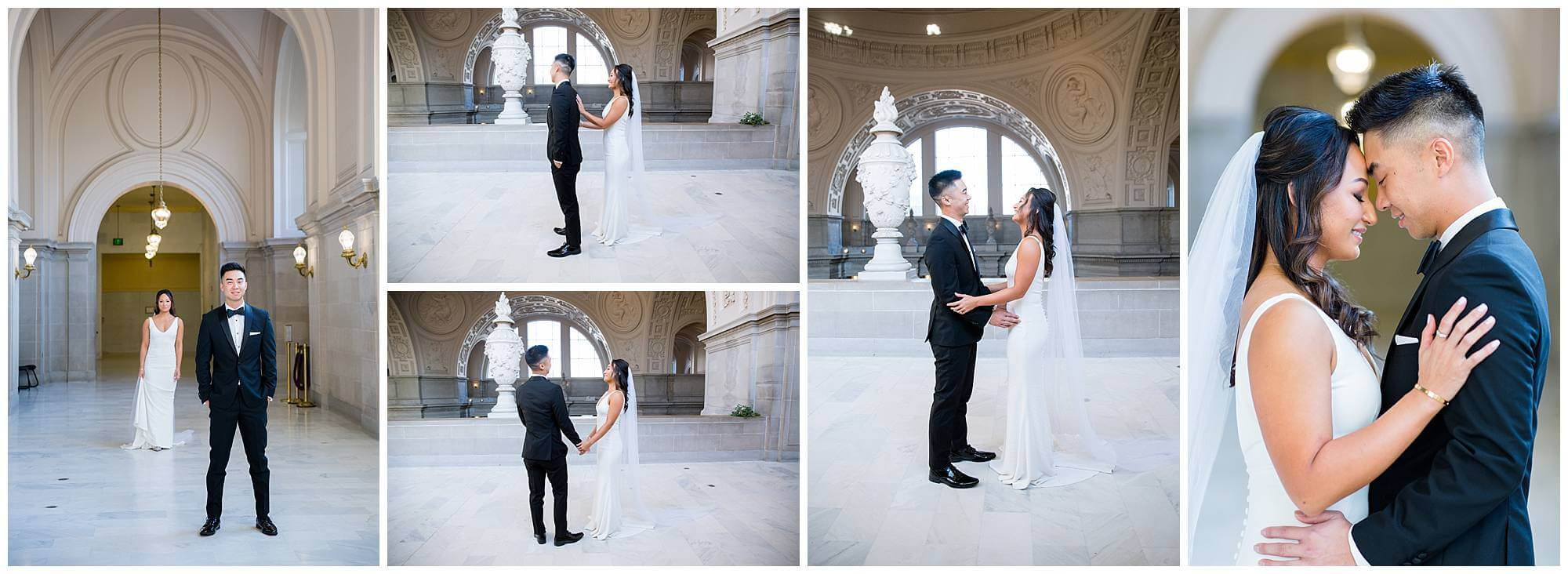 Maya and Kevin did a first look before their city hall wedding