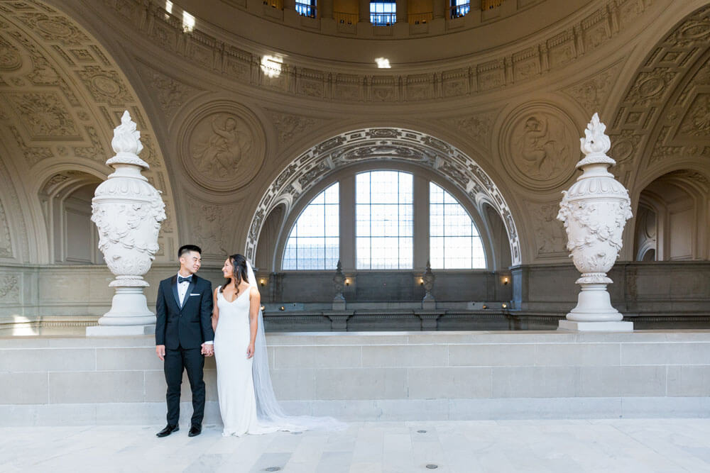 bride and groom fourth floor San Francisco City Hall