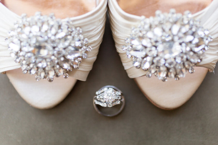 Michelle's shoes with wedding rings