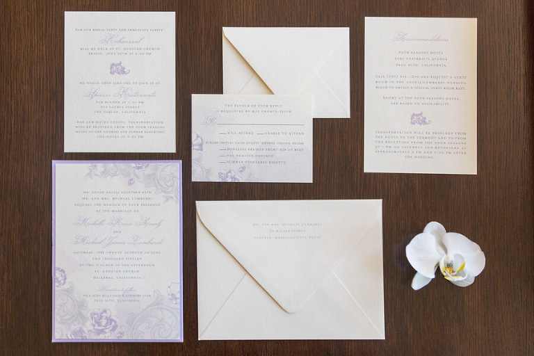 Michelle and Mick wedding invitations and all stationery