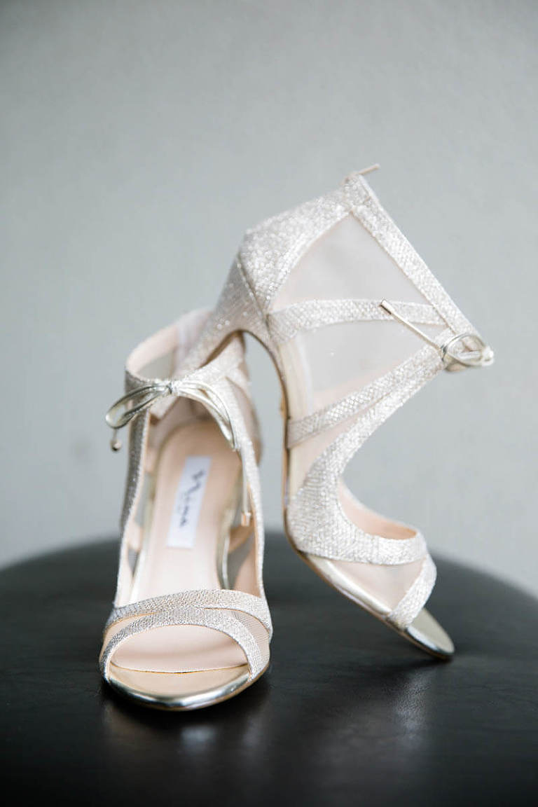Hellen's wedding shoes propped up