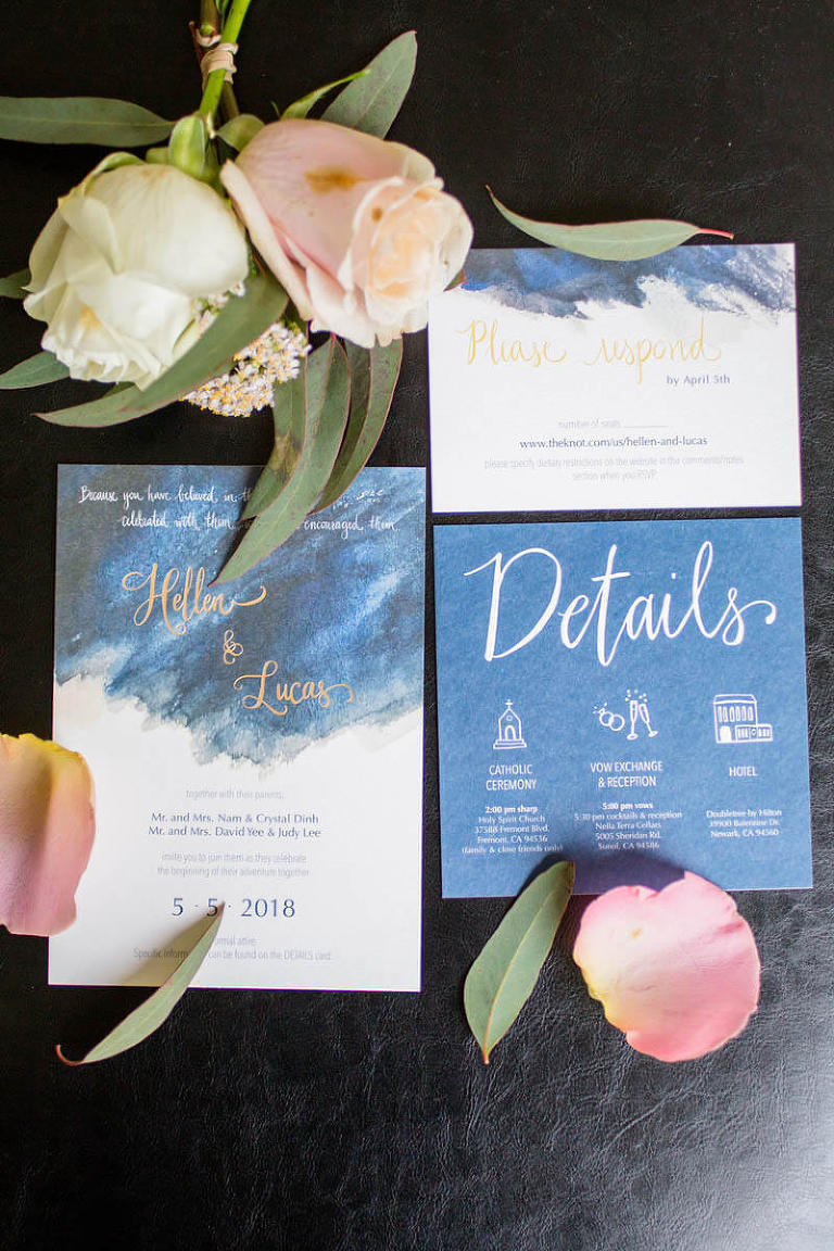 Wedding invitation with flowers and petals