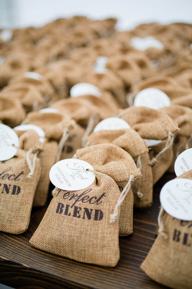 Burlap sacks coffee beans at wedding reception