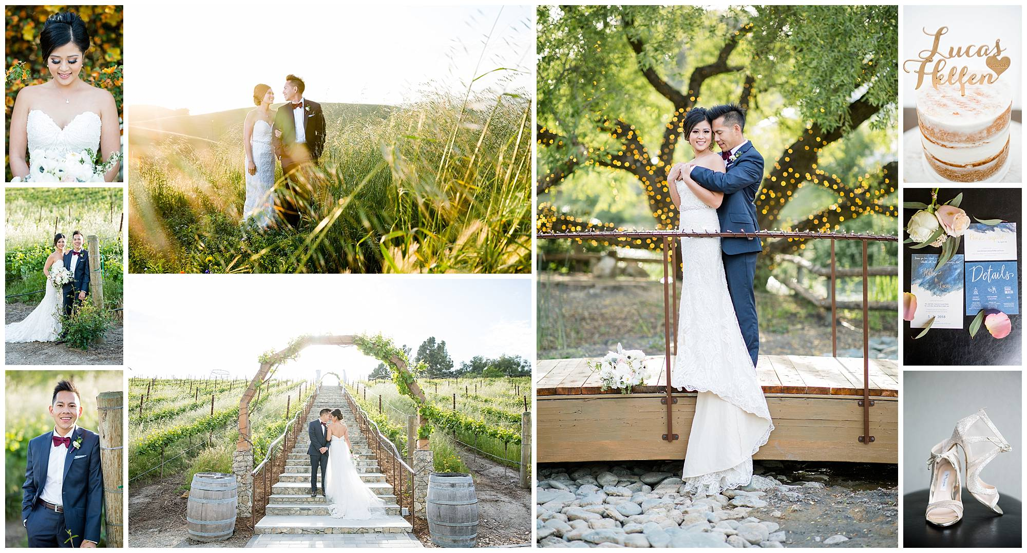 Collage of photos from Hellen and Lucas' wedding at Nella Terra