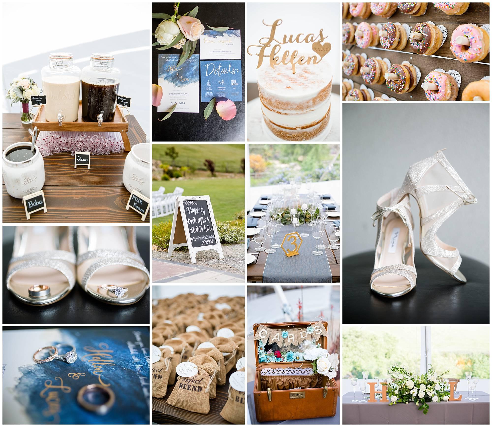 Collage of detail wedding photos