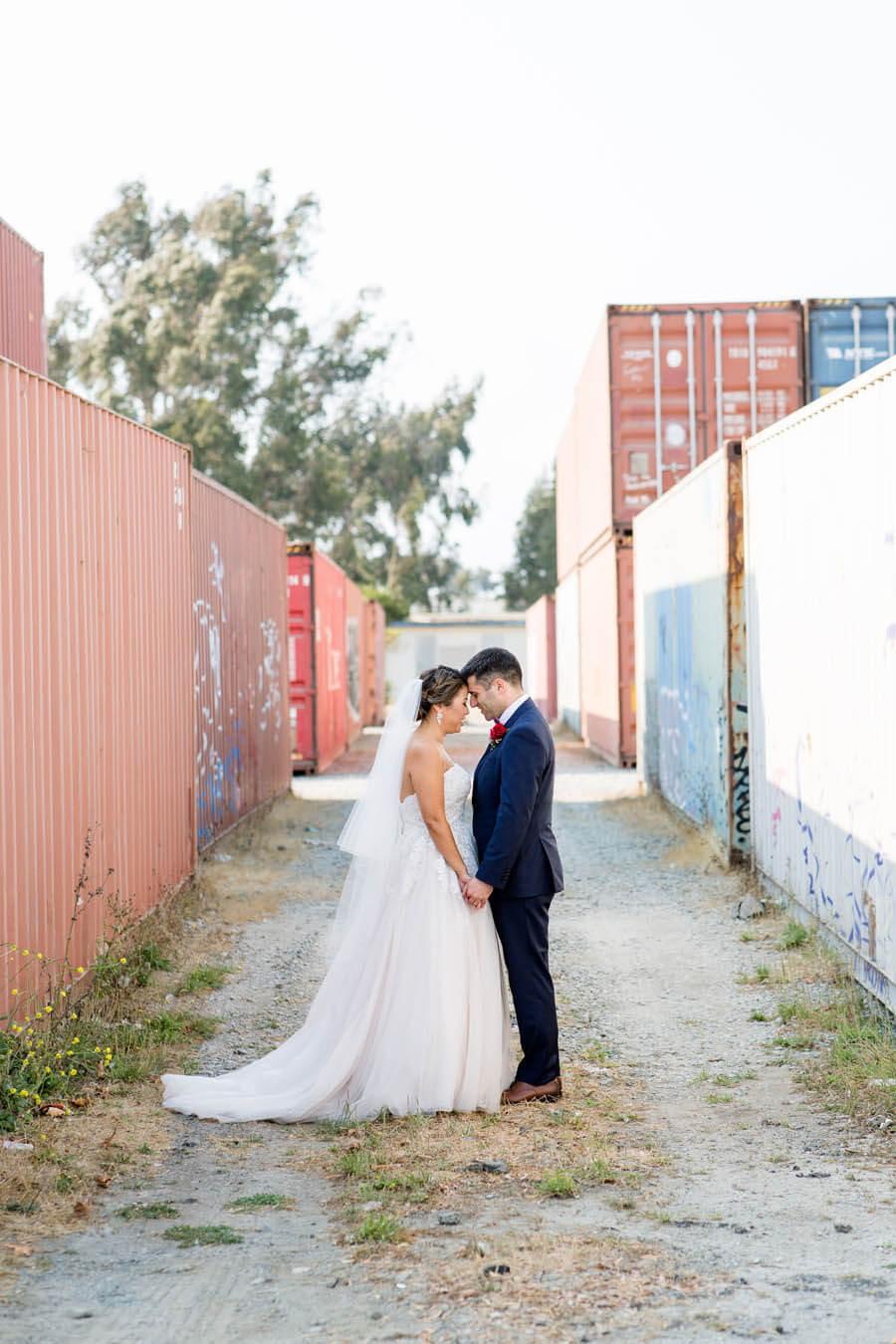 Bride and groom at Treasure Island shipyard by The Winery SF