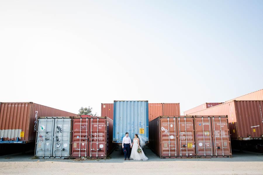 Treasure Island wedding photo at the shipyard