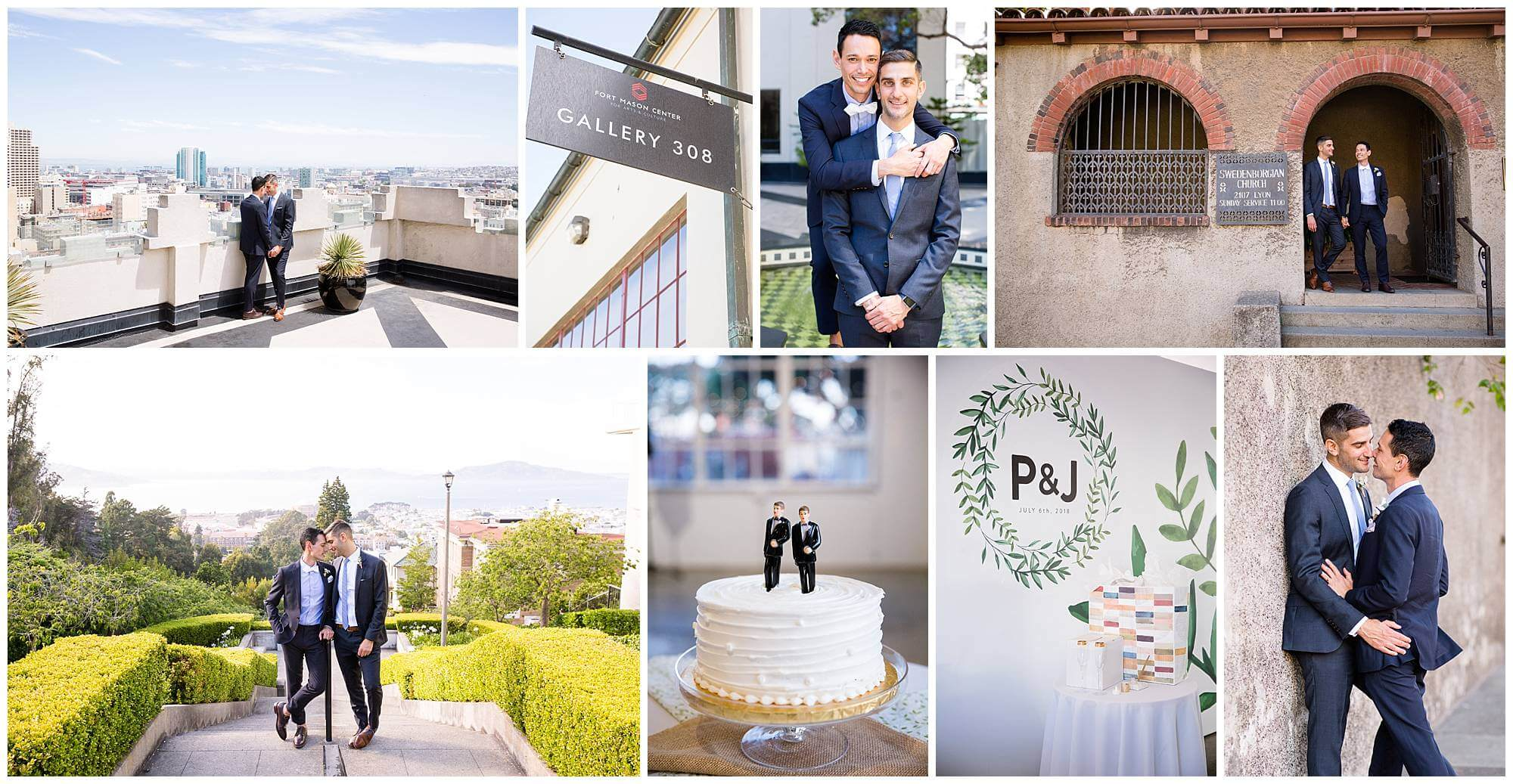 Collage of photos from Pete and James' San Francisco wedding