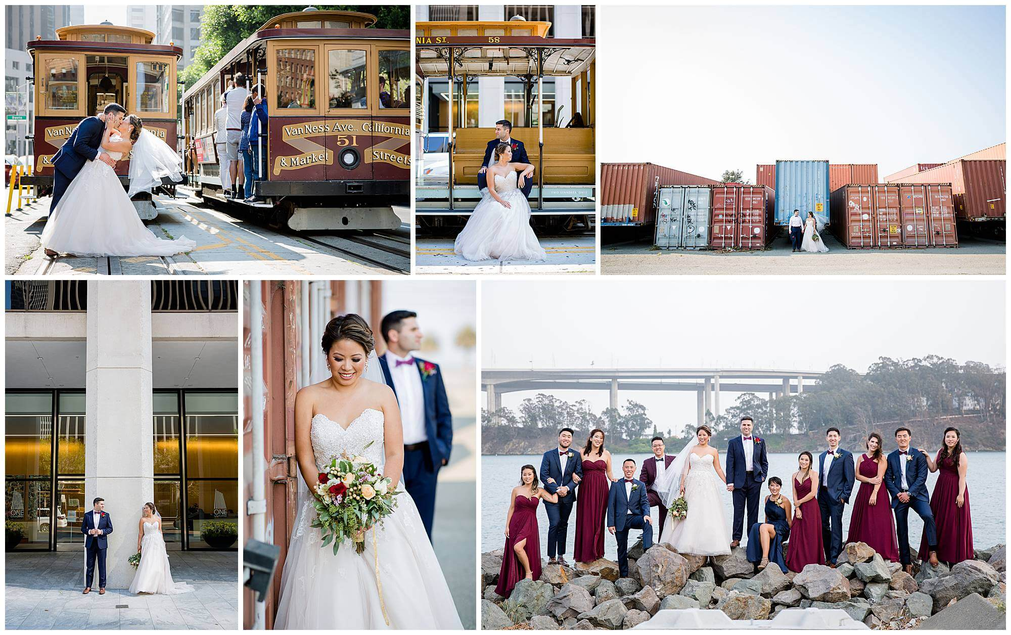 Photo collage from Annie and Leon's wedding at The Winery SF