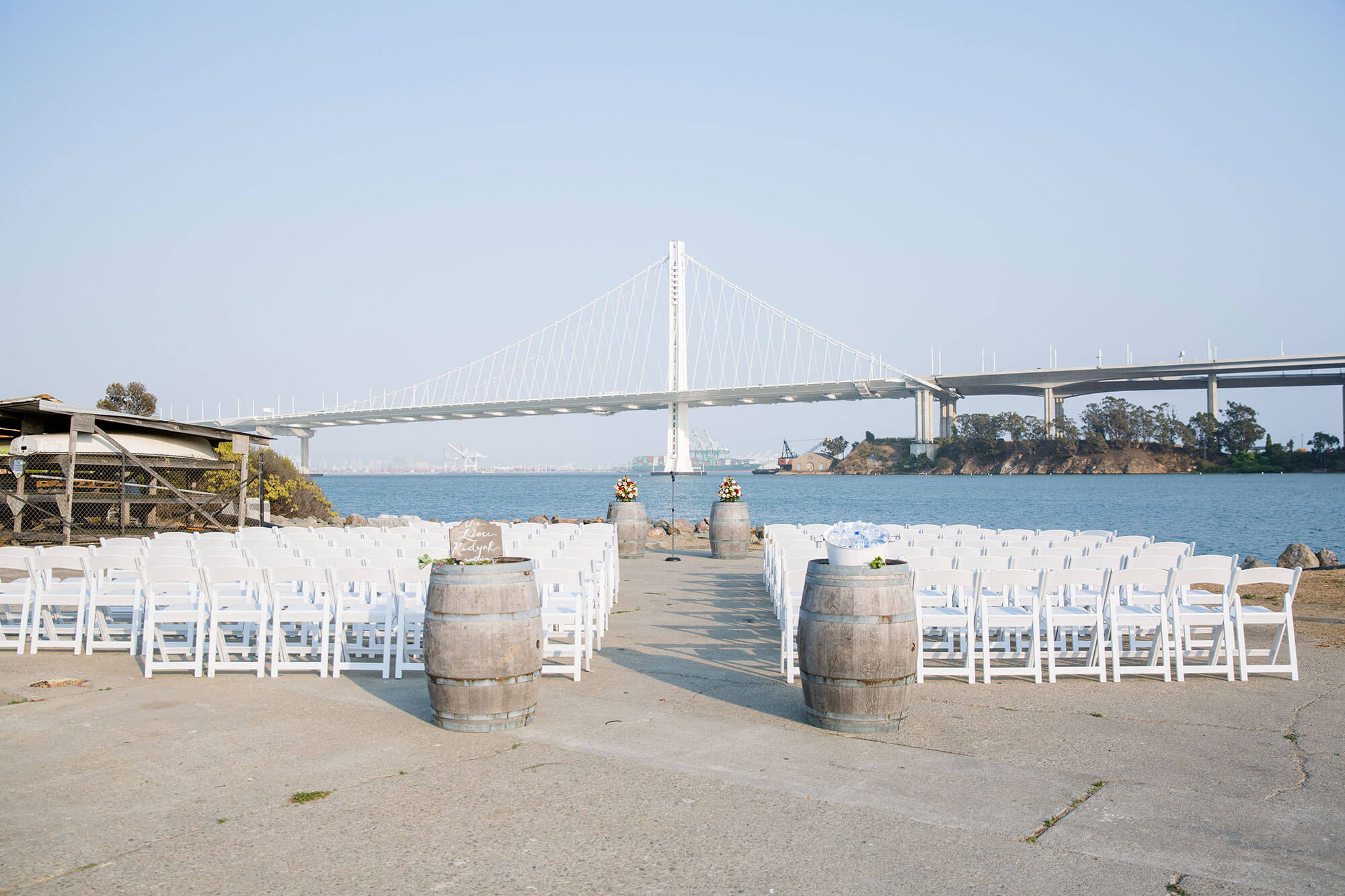 Ceremony at The Winery SF with Bay Bridge in background
