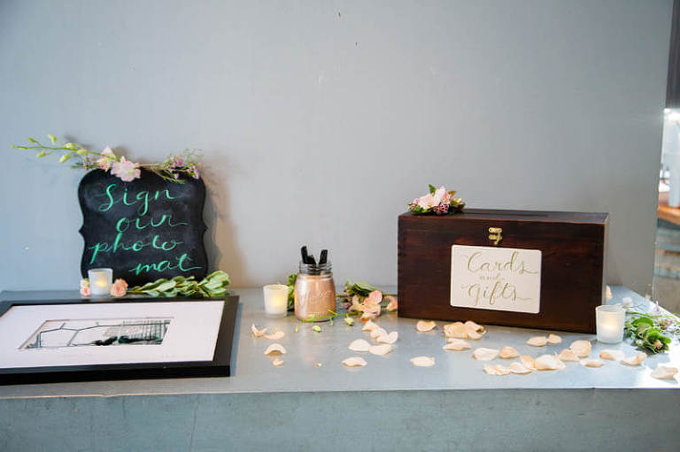 Card box and guest photo mat at Annie and Leon's wedding reception