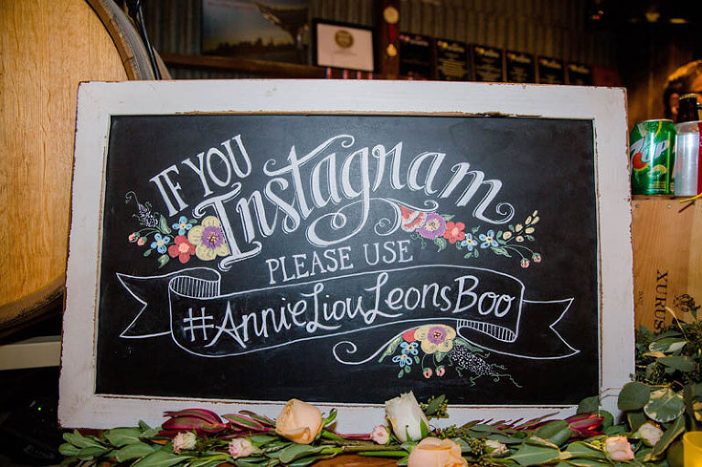 "Chalkboard sign ""If you Instagram please use #AnnieLiousLeonsBoo"""