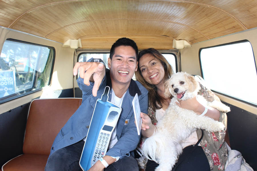 DBX Fest 2018 - couple with bichon mix inside vw bus photo booth