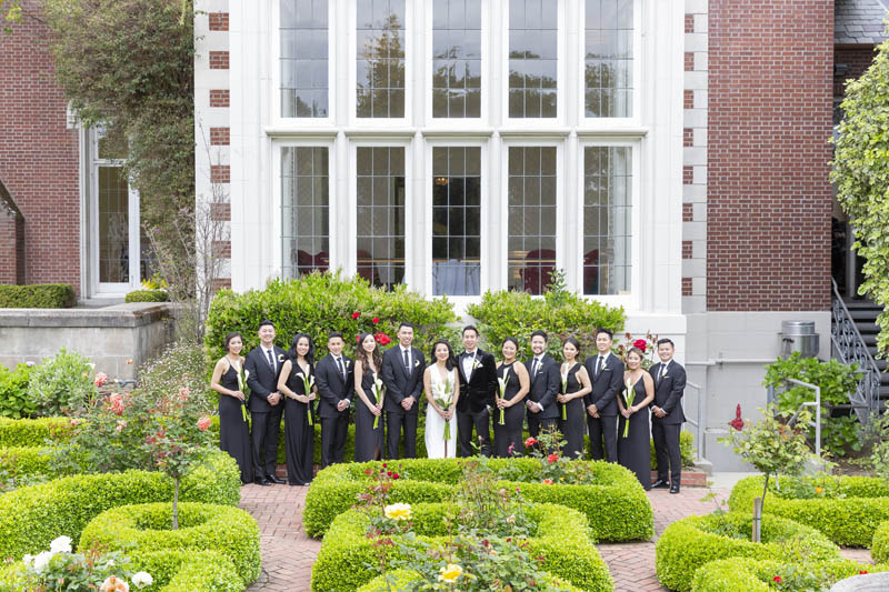 Wedding party outside Kohl Mansion