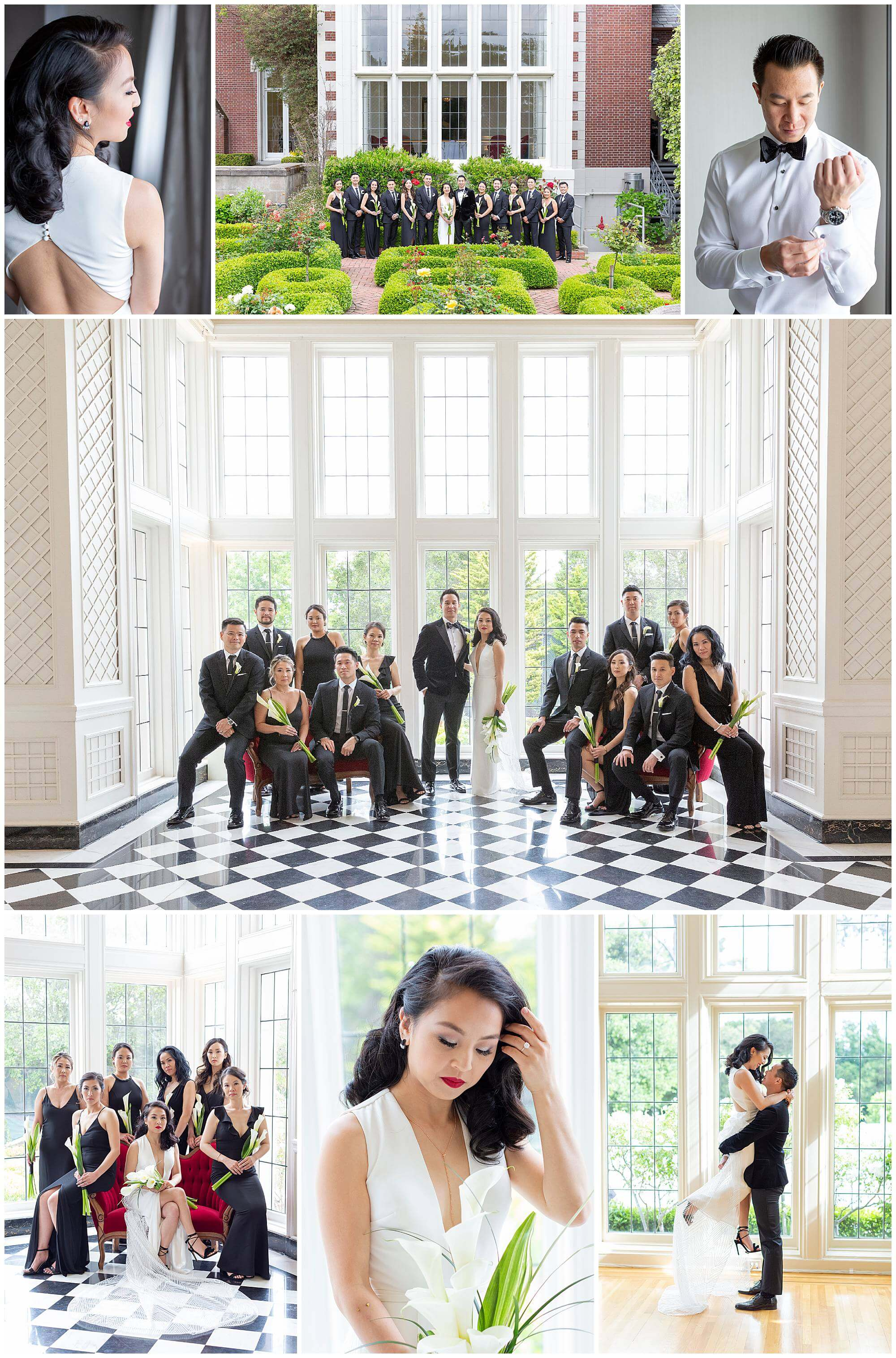 Collage of photos from Christine and Nelson's wedding at Kohl Mansion