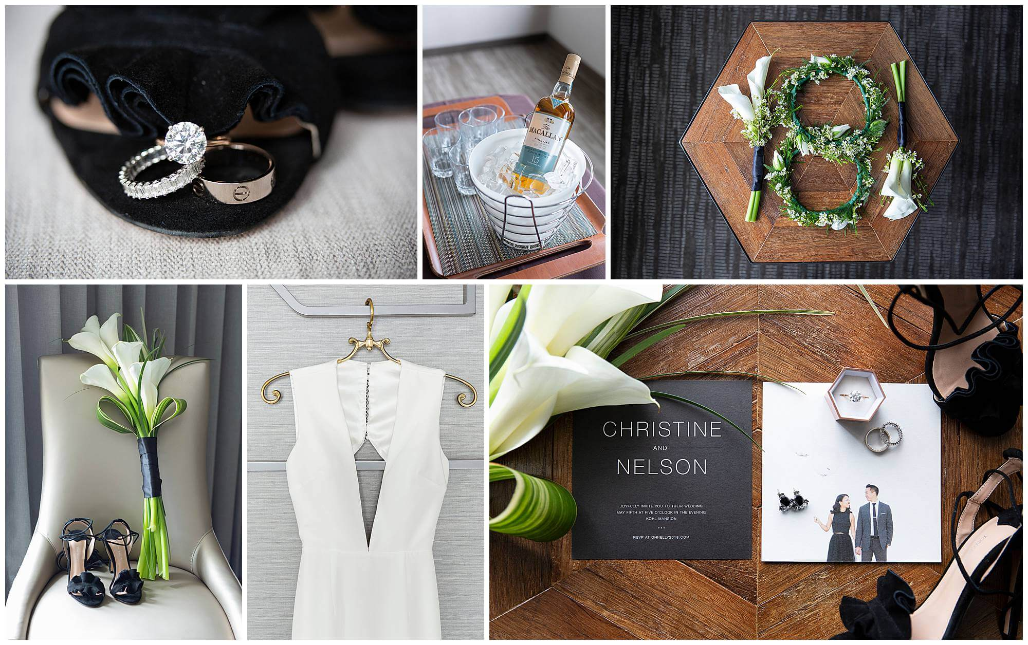 Collage of detail shots from Kohl Mansion wedding