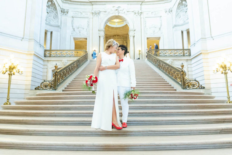 Elena and Karina's wedding at San Francisco City Hall - grand staircase