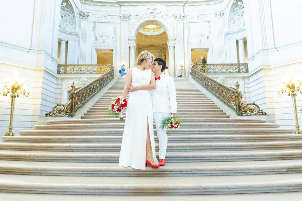 Elena and Karina's wedding at San Francisco City Hall - grand staircase