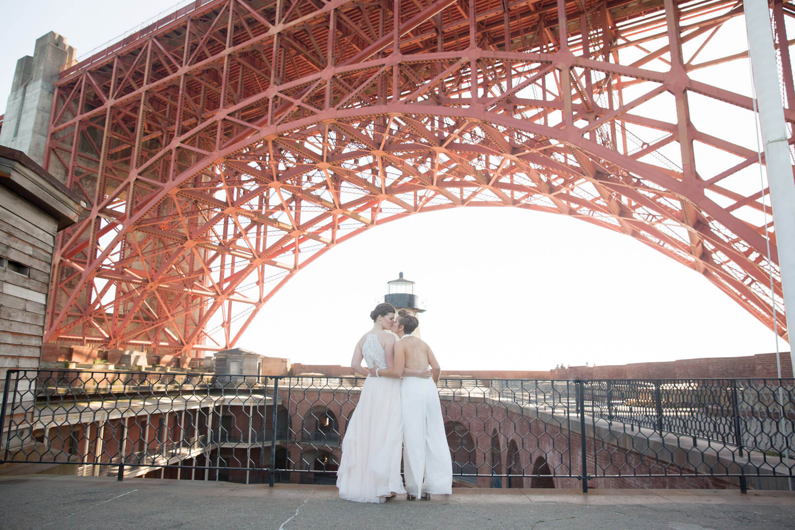 Gay wedding photo at Presidio in San Francisco