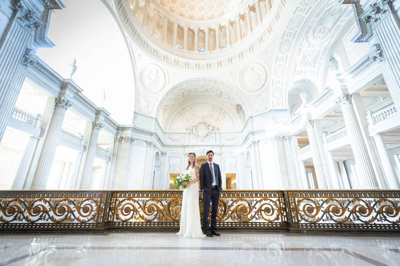 bride and groom SF City Hall wedding photo