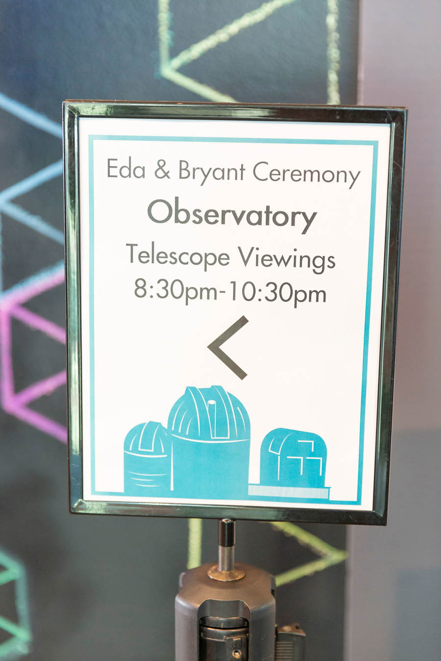 Chabot observatory sign at wedding