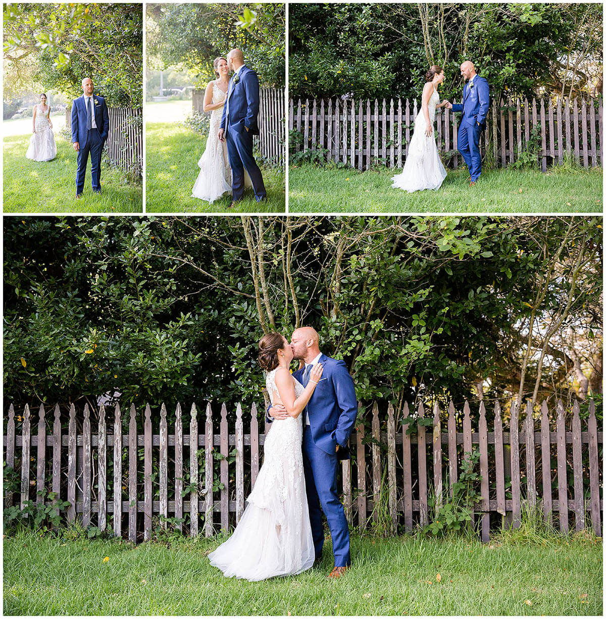 Cassie and Drew's first look before their wedding - photo collage
