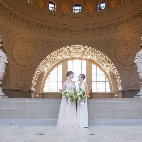 brides on fourth floor of San Francisco City Hall